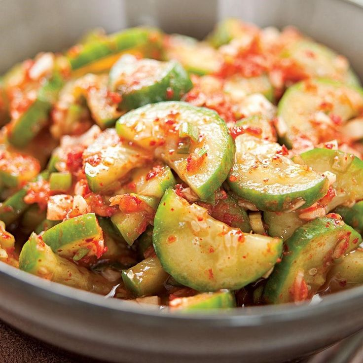 While slowly fermented cabbage and pungent garlic are the ingredients most people associate with kimchi, there are dozens and dozens of other versions of Korea's national dish, featuring all manner of vegetables, such as these quickly pickled cucumbers with just a trace of garlic.