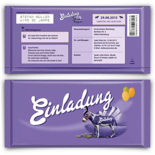 Einladungskarten+als+lila+Schokolade+Geburtstag++von+Kartenmachen.de