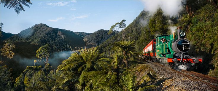 West Coast Wilderness Railway Train driving up a steep hill thanks to its rack and pinion railroad system