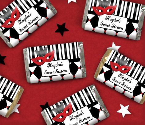 Sweet Sixteen Birthday Favors: Masquerade Party Theme Candy Wrappers | WrappedHersheys.com