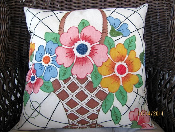 1930 Vogart vintage flower asket hand embroidered pillow
