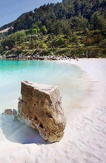 Saliara, Thassos with beautiful white sands from the white marble island.