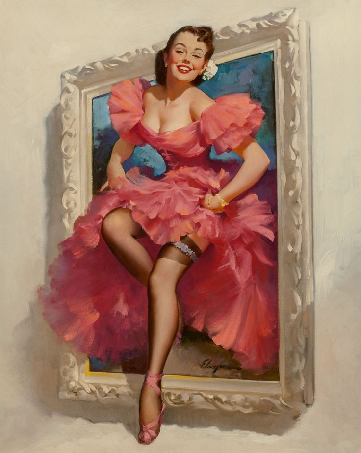Gil Elvgren (American, 1914-1980). Stepping Out, 1953. Oil on | LotID #61001 | Heritage Auctions