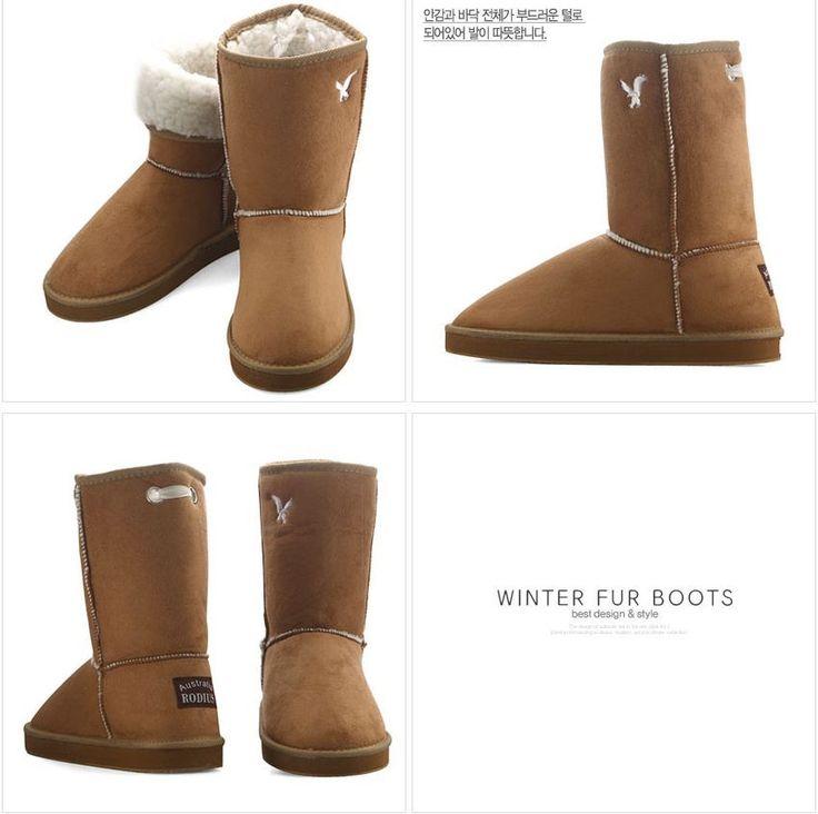 Rodius Womens Fur Long Boots Winter Snow Boots Fashion Shoes (Brown) #rodius #SnowWinterBoots