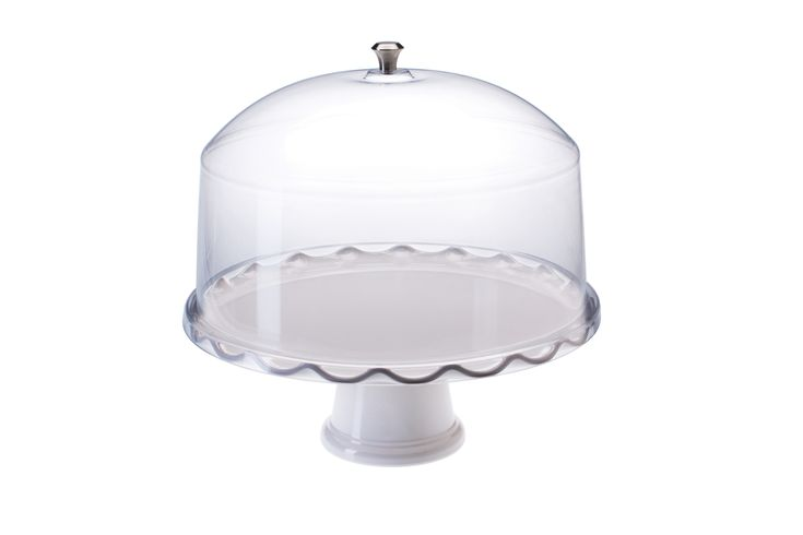 "Acrylic Cake Dome, Plastic Tray, and Pedestal, 13"" Diameter - White"