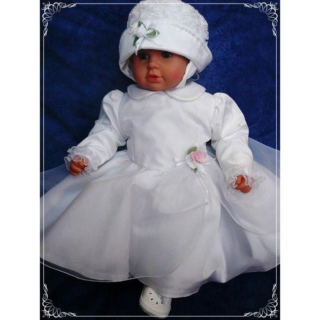 """Elegancki komplet do chrztu dla dziewczynki """"Różyczka"""". Uszyty został z wysokogatunkowych materiałów bezpiecznym dla każdego maleństwa. Różyczka zdobiąca #sukienkę do #chrztu wykonana jest z organtyny."""