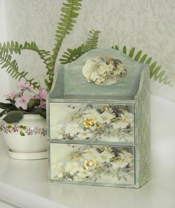 MAKEUP ORGANIZER VINTAGE Handmade chest of drawers jewelry organizer makeup drawers  nursery storage;wooden trinket box, wood keepsake box,