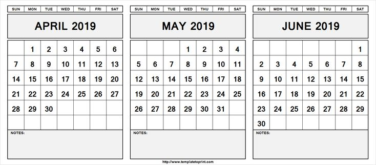 Printable April May June 2019 Calendar With Notes April