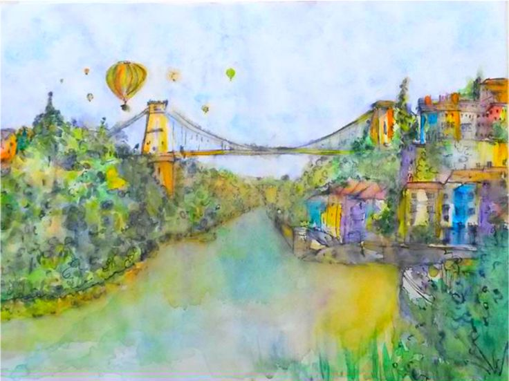 Clifton Suspension Bridge Bristol II. Watercolour on 140 gram paper. 420 mm 594 mm. Original. SOLD.