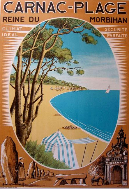 Old poster ad for Carnac Plage