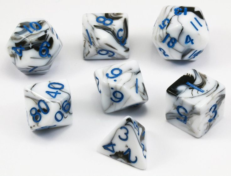 Marble Dice (Blue Numbers) RPG Role Playing Game Dice Set