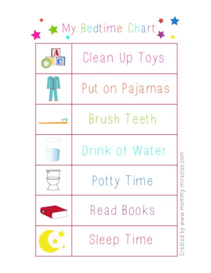 Bedtime Routine Printable for Toddlers