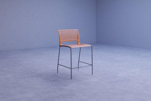 Elegant Orange Bar Stool 3D Max - 3D Model