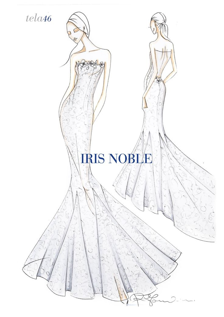 Mermaid lace dress with long train, nude back and swarovski applications on the décolleté.