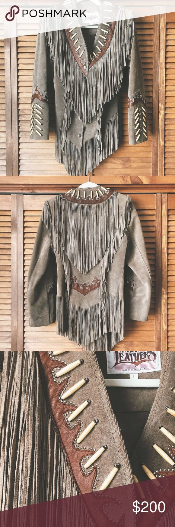 Vintage Women's Diamond Leather Jacket El Paso, TX Vintage Women's Diamond Leather Jacket of El Paso, Texas in Deep Taupe, size 8. Never worn and in perfect condition. This gal has lived in a garment bag for all her life. Someone show her a good time! Jackets & Coats