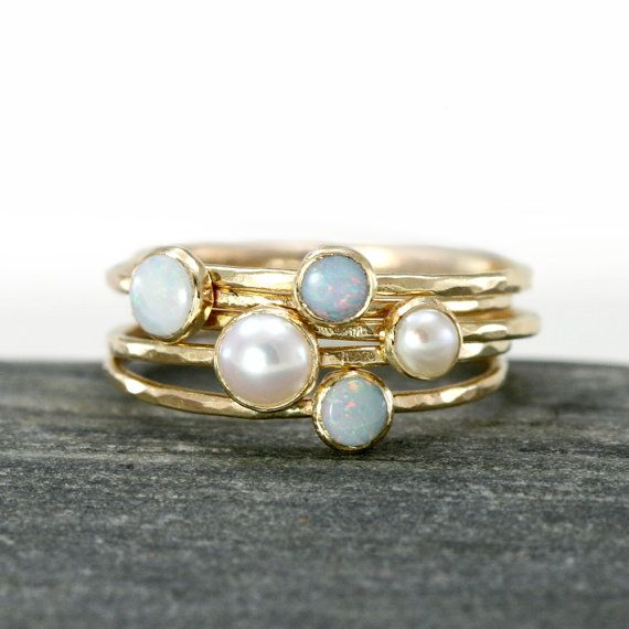 Opal and Akoya Pearl Stacking Rings in 14k Yellow Gold, Set of 5, Thin 14k Gold Stack Rings, White Austrailian Opal