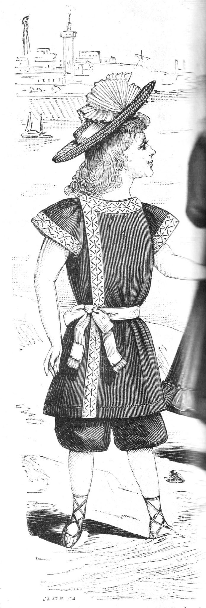 https://flic.kr/p/HVNtT9   Costume de bain pour enfant   La Petit Écho de la Mode, 17 juin 1894 Costume de bain pour enfant de 6 à 8 ans, en tissu bleu et galon brodé blanc. - Pantalon bouffant serré au-dessous du genou, blouse longue boutonnée de côté, légèrement décolleté [sic], manche courte garnie galon, même garniture à la blouse. ceinture de galon mohair crème. Le dos de la blouse est droit fil sans couture. Chapeau paillasson blanc, garni d'un plissé de mousseline blanche.