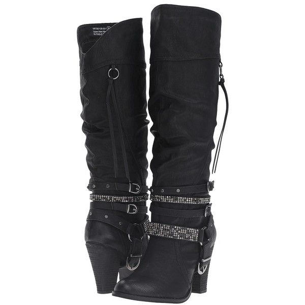 Not Rated Stacey (Black) Women's Boots ($85) ❤ liked on Polyvore featuring shoes, boots and knee-high boots