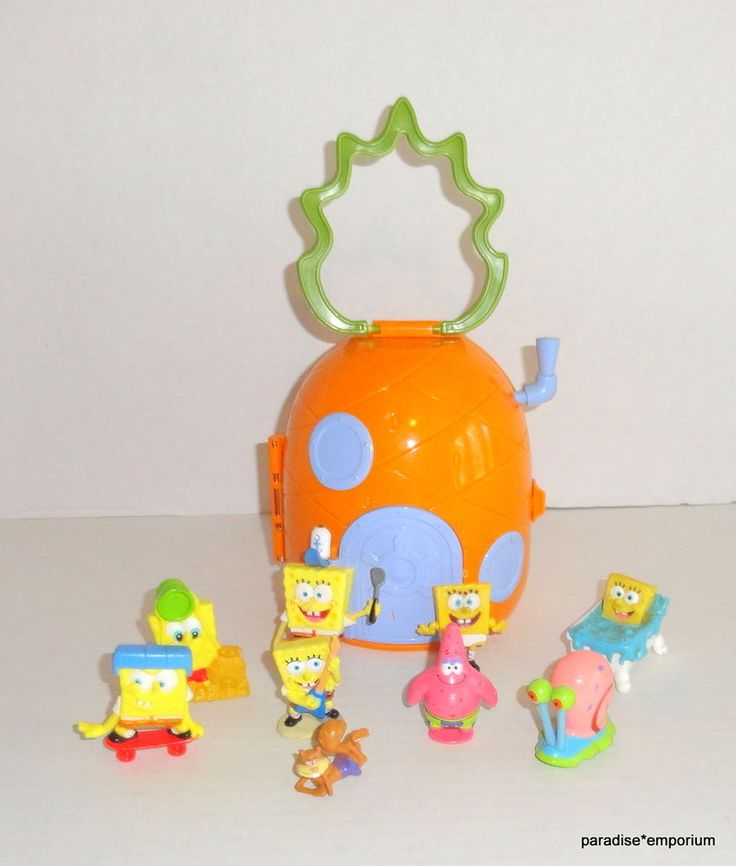 SpongeBob SquarePants Pineapple House Mini Playset with 9 Figures Lot #Spongebobsquarepantstoys
