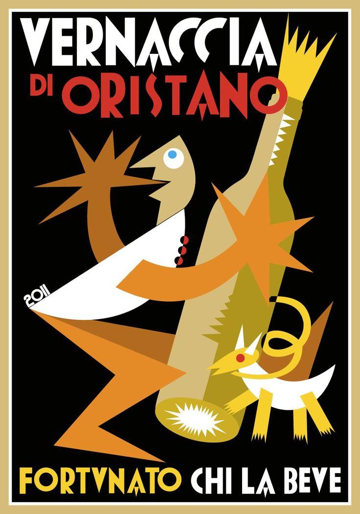 Fortunato Depero (1892-1960, Italy), Vernaccia di Oristano, Fortunato Chi La Beve.