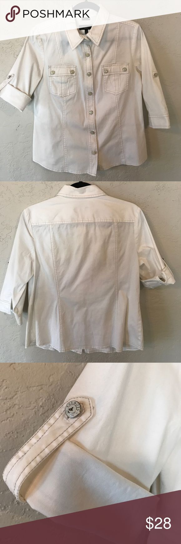 Talbots cargo shirt Talbots White cargo shirt with logo buttons. 99% cotton 2% spandex. Great details. Sleeves can be worn down or rolled up as shown. Hits at hip. Talbots Tops Blouses
