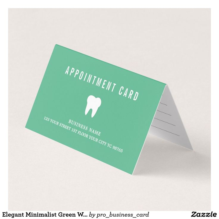 36 best dental business cards images on pinterest dental business elegant minimalist green white dentist appointment card colourmoves Gallery