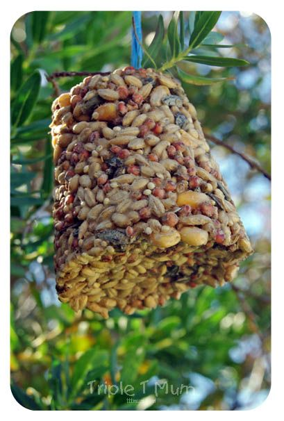 {Triple T Mum} Homemade Bird Feeder Toddler Activity - recipe calls for styrofoam cups, but any container will do.