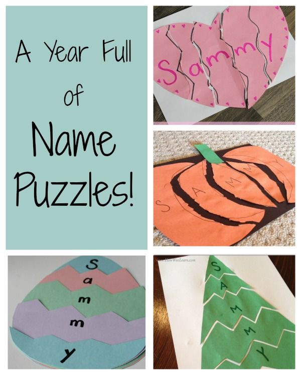 Name puzzles are wonderful ways to introduce preschoolers to the alphabet. An awesome first step to literacy too! Here is a whole years worth of name puzzles!
