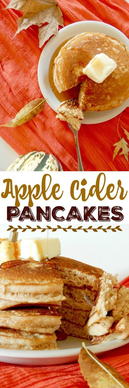 Apple Cider Pancakes...the ultimate Autumn breakfast!  Apple cider, nutmeg and cinnamon take a traditional buttermilk pancake mix up a notch to a new level.  Kid's love these pancakes!