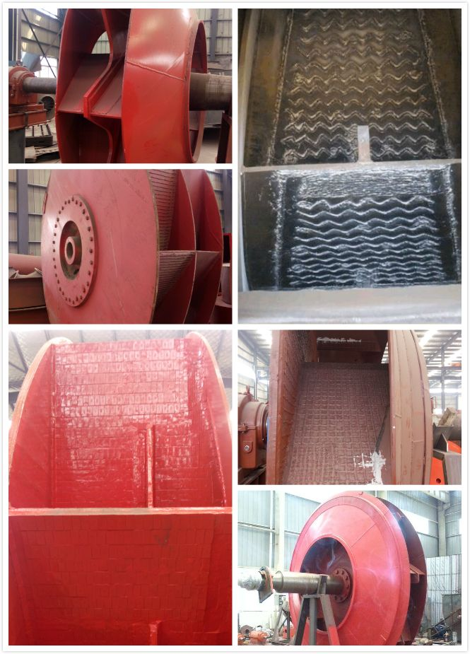 Centrifugal fan is always used in cement or steel plant. According to dust content, the fan impeller Wear-Resistant Overlay, Porcelain Veneer, Wearable Liner, Ceramic Chip and so on.