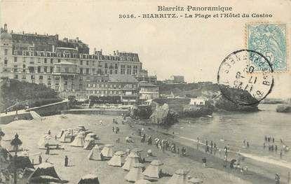 """/ CPA FRANCE 64 """"Biarritz, la plage et l'hôtel du Casino"""" / BIARRITZ PANORAMIQUE"""