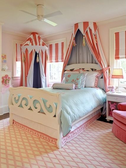 striped bed crown and drapery in girls bedroom