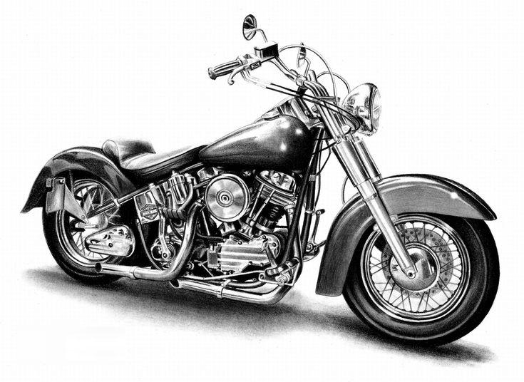 поэтому рисунки карандашом черно белые мотоцикла днем милиции