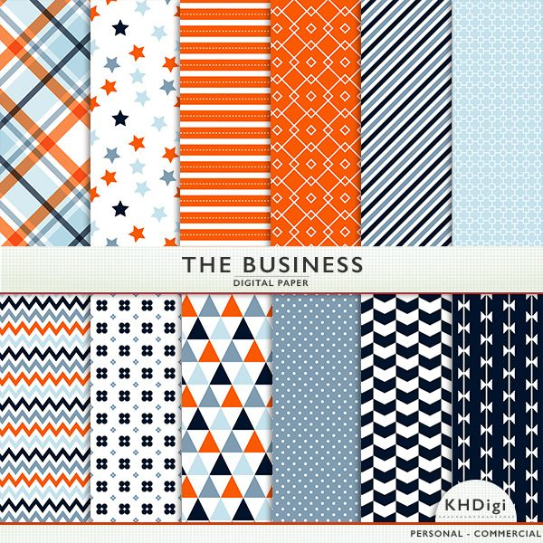 If you have a layout about work, or corporate life, you'll love The Business digital paper pack. Using favorite corporate colors of navy blue and orange, in some serious, yet fun patterns!