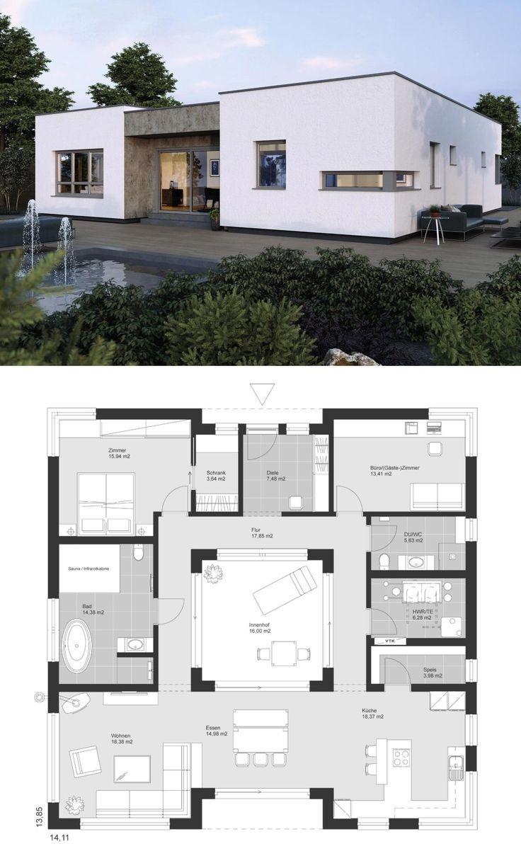 Bauhaus bungalow arquitetura moderna planta com pátio, telhado plano e 4 quartos …   – HausbauDirekt