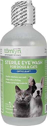 Tomlyn Sterile Eye Wash for Dogs and Cats, (Opticlear) 4oz - Sterile, veterinary eye wash 4 oz solution. A soothing isotonic-buffered solution formulated to be the same pH as normal tear fluid. Helps relieve discomfort and itching. Flushes out pollen, air polutants, hair and other foreign materials.