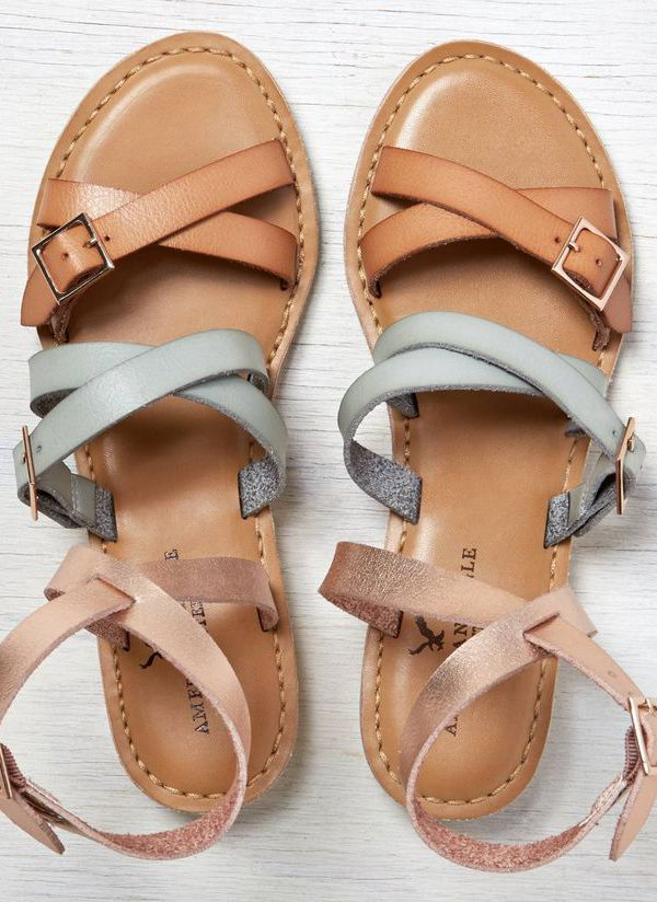 tri-colored leather strappy sandals