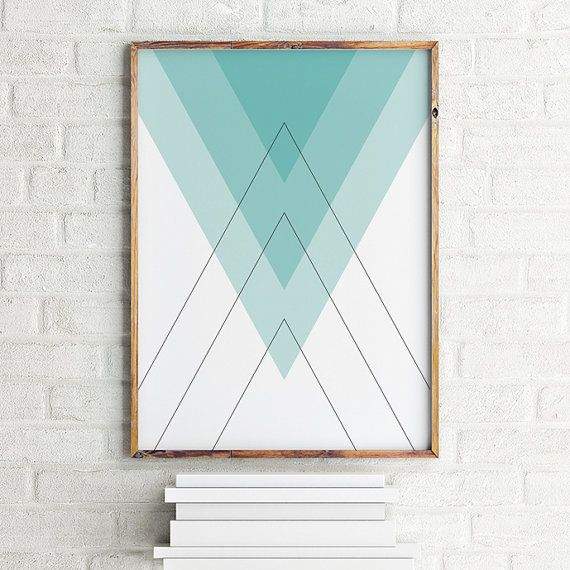 Geometric art print poster Blue Pyramids / by MBmindbackup on Etsy