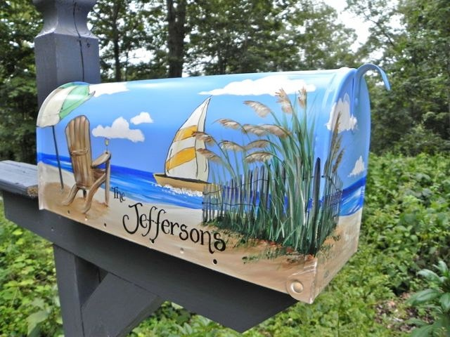 I wish I had a beach house for this cute hand painted mailbox