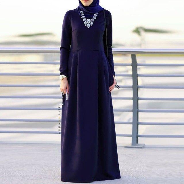 Basic dress is now available in dark blue color. www.annahariri.com  #hijabfashion #chichijab #abaya #maxidress