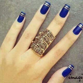 Blue Gold nails