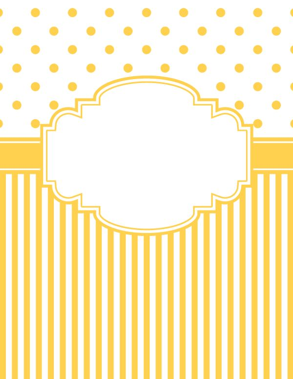 Free printable yellow polka dot and stripe binder cover template. Download the cover in JPG or PDF format at http://bindercovers.net/download/yellow-polka-dot-and-stripe-binder-cover/