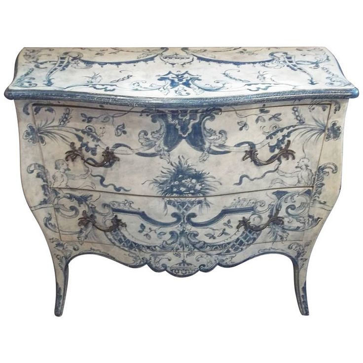 Italian Blue And White Painted Commode In 18th Century Rococo Style | From a unique collection of antique and modern commodes and chests of drawers at https://www.1stdibs.com/furniture/storage-case-pieces/commodes-chests-of-drawers/