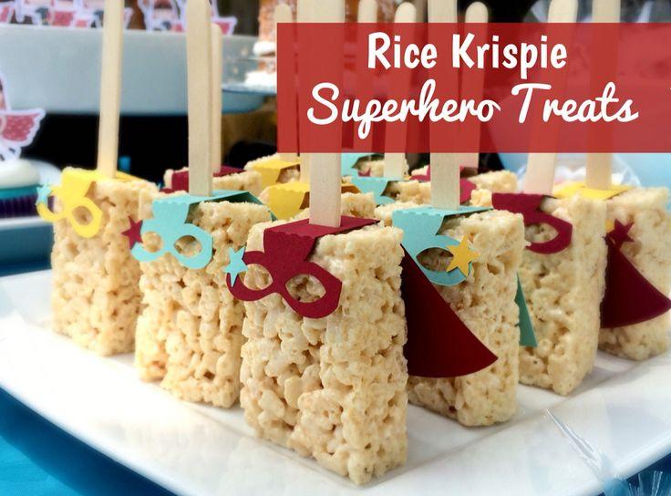 Superhero Treats: Altered Silhouette design #55326 to create an easy superhero themed dessert using store bought Rice Krispie treats.