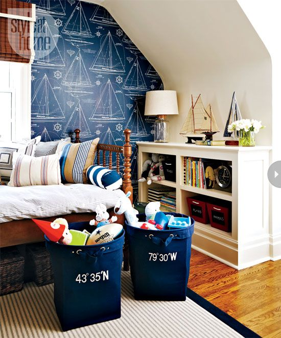 Cole's room: wallpaper, laundry bins, lamp  and rug pillow ticking stripe duvet with repurposed sailcloth bolsters