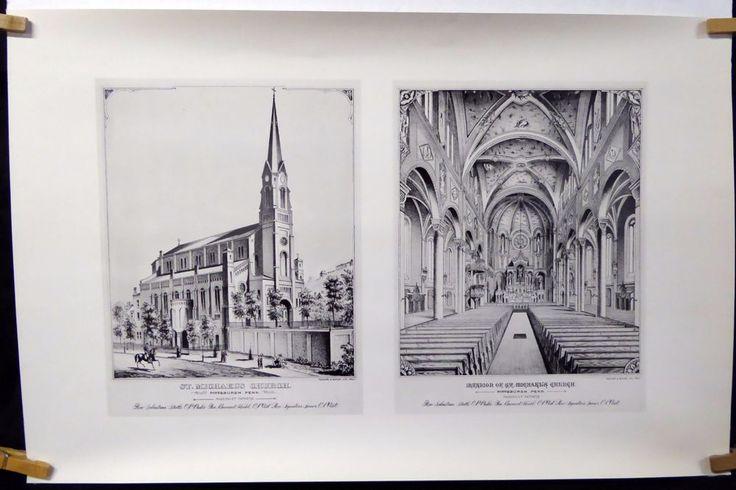 St Michaels Catholic Church Circa 1900 Pittsburgh Print 1976 Herbick & Held