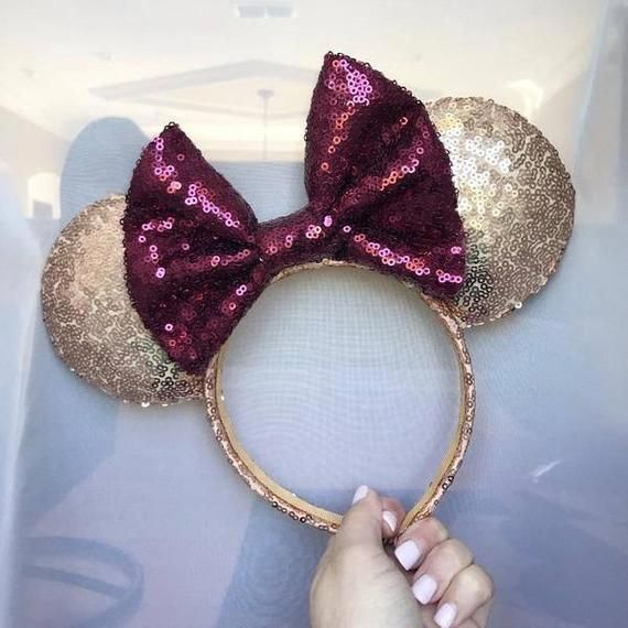 Details about  /2020 Mickey Mouse Rose Gold Silver Sequins Disney Parks Polka Dot Ears Headband