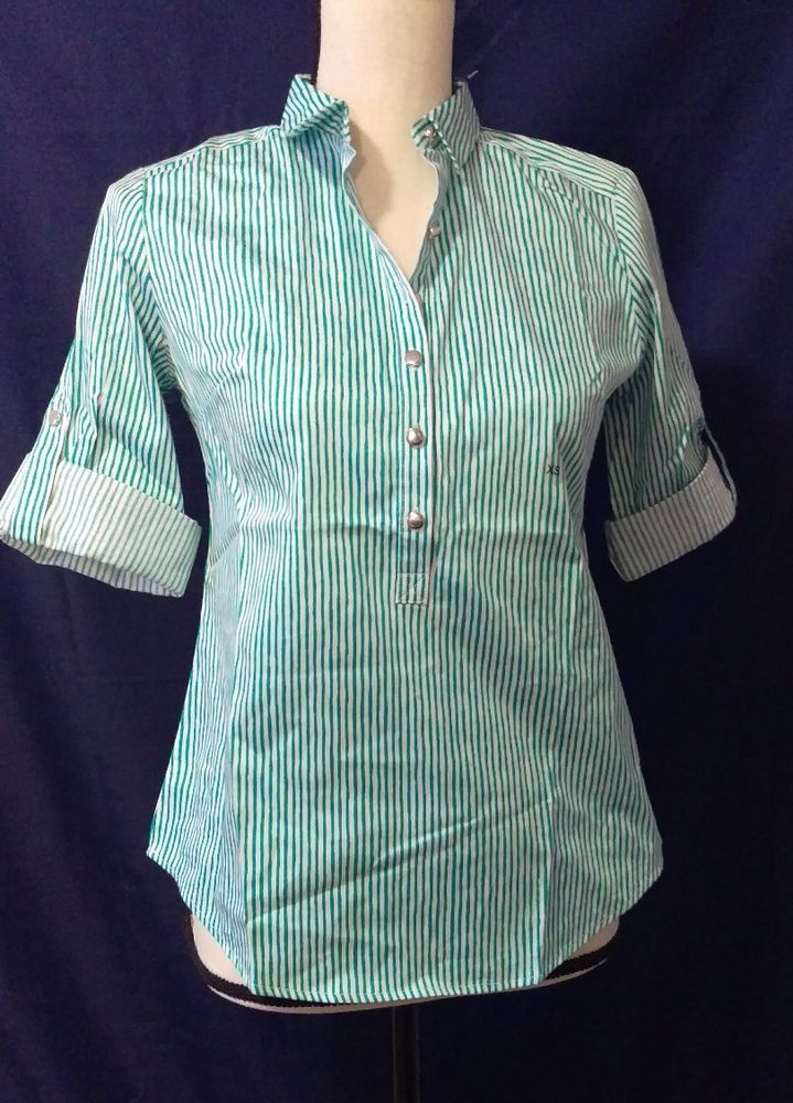 NYC Stretch 1/2 Button Down Shirt Green & White Stripes Size XS X Small | Clothing, Shoes & Accessories, Women's Clothing, Tops & Blouses | eBay!