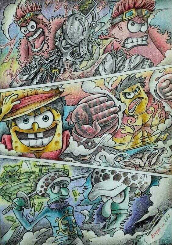 spongebob as dangerous trio OnePiece in 2020 One piece