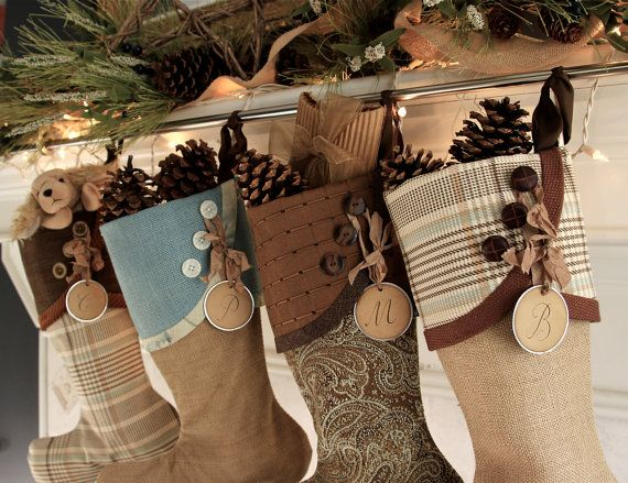 Lodge Style Christmas Stockings in Copper, Brown & Teal Blue From South House Designs